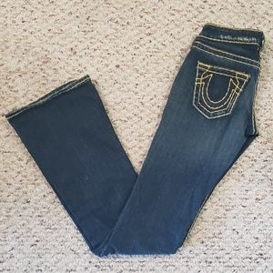 True Religion Dark Wash Boot Thick Stitch Jeans 24